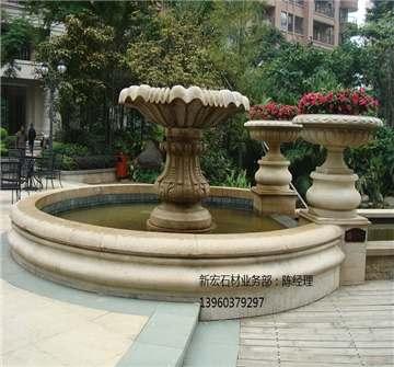 喷水池,花盆