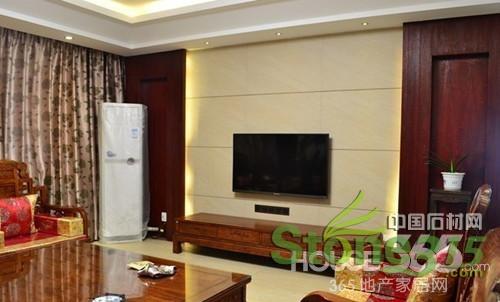 乳白色的大理石电视背景墙效果图