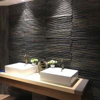 厂家直销黑色文化石流水石别墅背景墙天然黑色流水板石材装饰