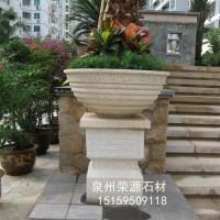 欧式别墅花园仿古花盆 黄锈石花钵石雕