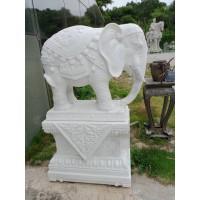 大象汉白玉花岗岩雕塑石材手工石雕工艺品居家庭院广场公园摆件